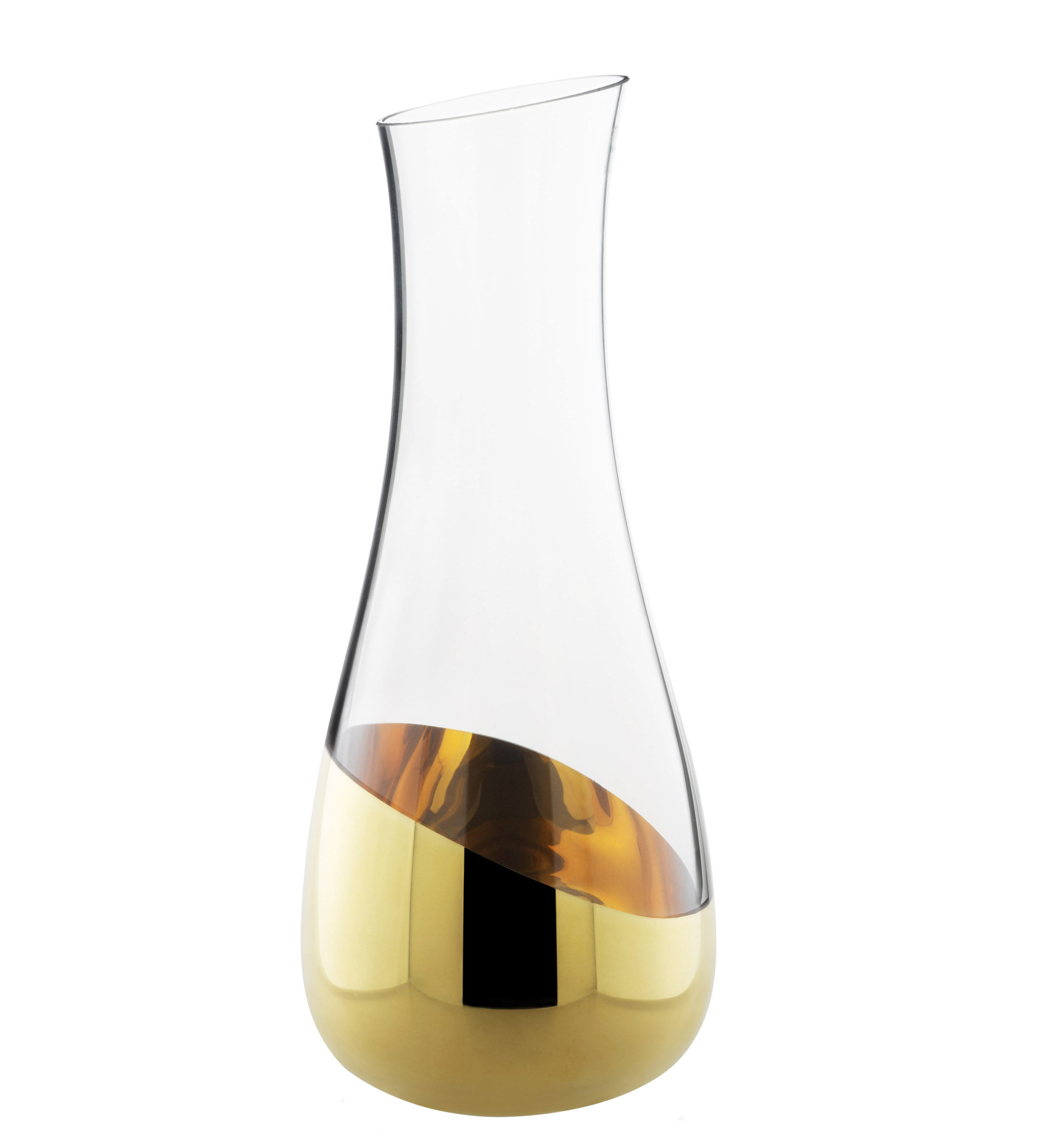 Tableware - Water Carafes & Wine Decanters - Midas Carafe - Carafe with gold lower H 30 cm by Skitsch - Clear & gold - Gold, Mouth blown glass