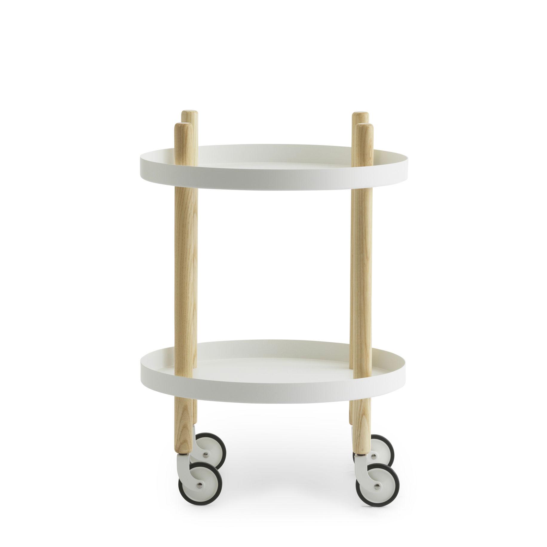 Arredamento - Complementi d'arredo - Carrello/tavolo d'appoggio Block - / Ø 45 cm di Normann Copenhagen - Bianco - Acciaio, Frassino