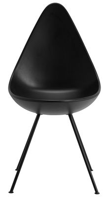 Mobilier - Chaises, fauteuils de salle à manger - Chaise Drop / Coque plastique - Réédition 1958 - Fritz Hansen - Noir - Acier laqué, Nylon, Plastique ABS