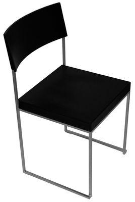 Mobilier - Chaises, fauteuils de salle à manger - Chaise empilable Cuba / Cuir - Lapalma - Cuir noir - Acier, Cuir