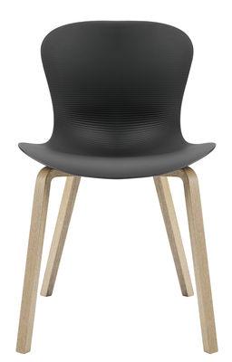 Mobilier - Chaises, fauteuils de salle à manger - Chaise Nap / 4 pieds bois - Fritz Hansen - Poivre gris / Piètement bois - Chêne, Polyamide