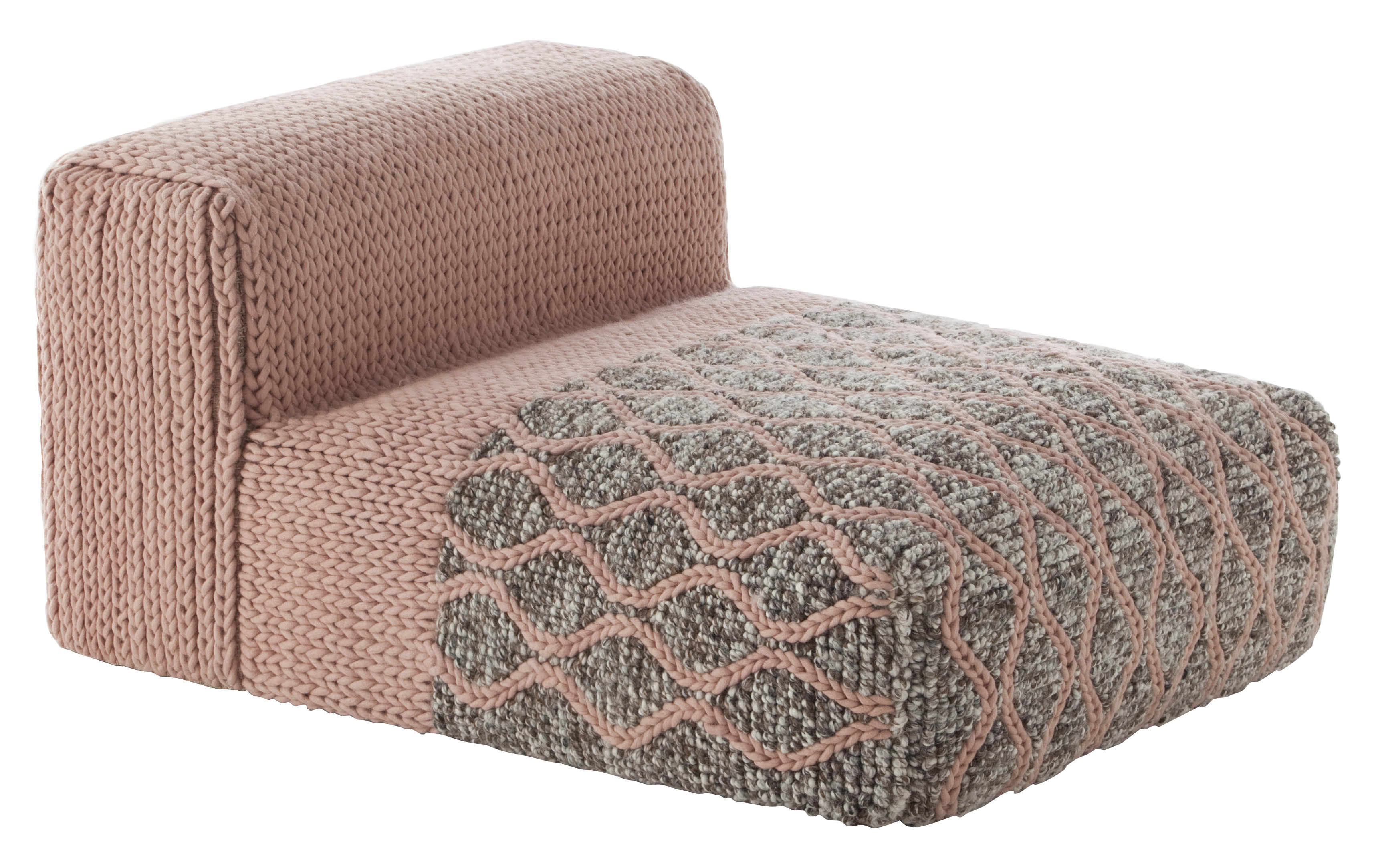 Furniture - Armchairs - Mangas Space Rhombus Easy chair - / L 120 cm by Gan - Pink - Mousse caoutchouc, Virgin wool