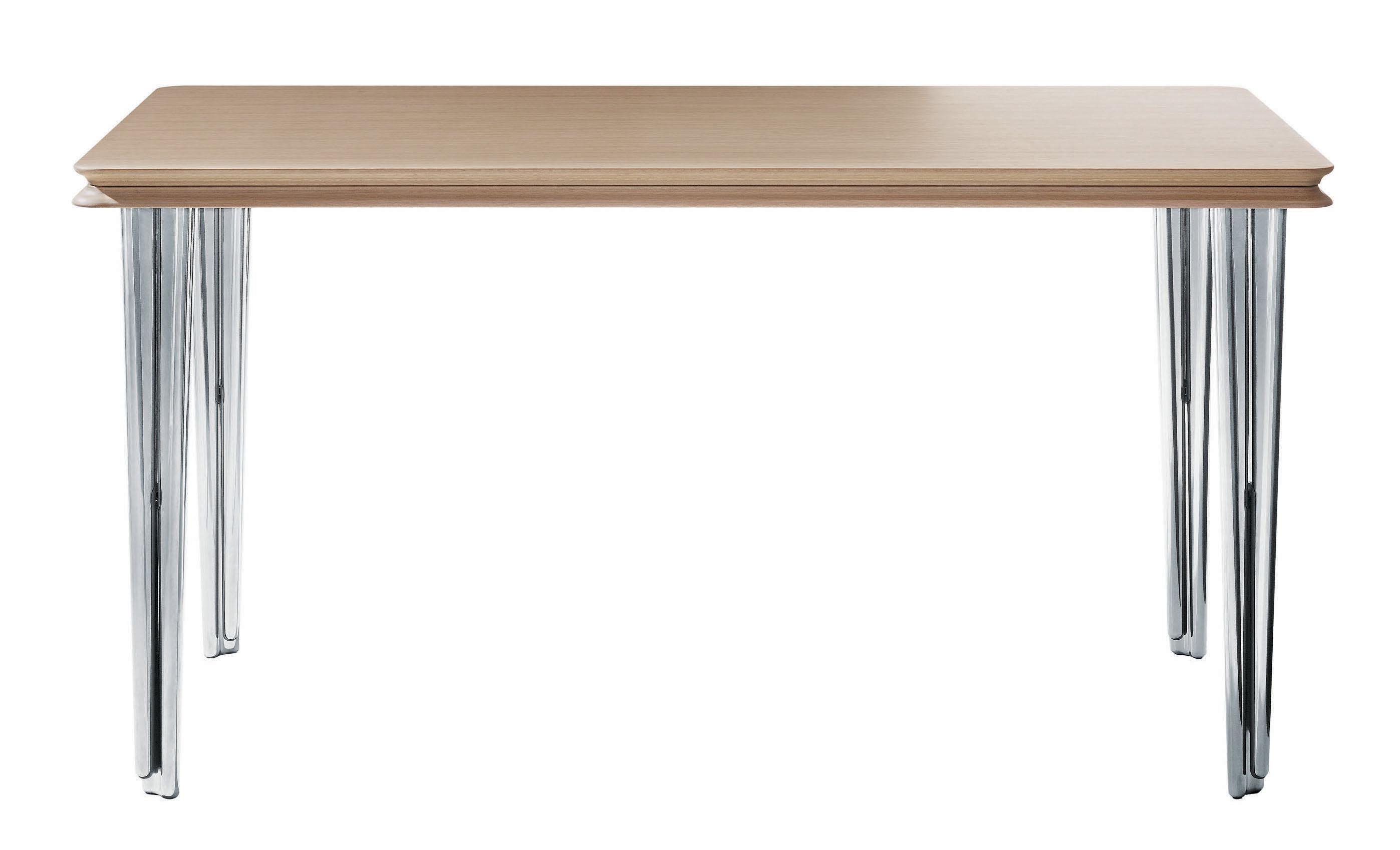 Furniture - Teen furniture - Piggyback Extending table - Set of 2 stackable tables by Magis - oak top / alu legs - Oak, Polished cast aluminium