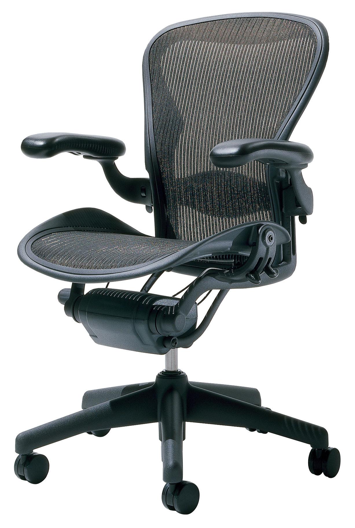 Rentrée 2011 UK - Bureau design - Fauteuil à roulettes Aeron / Assise souple - Herman Miller - Graphite (noir) - Aluminium peint, Résille