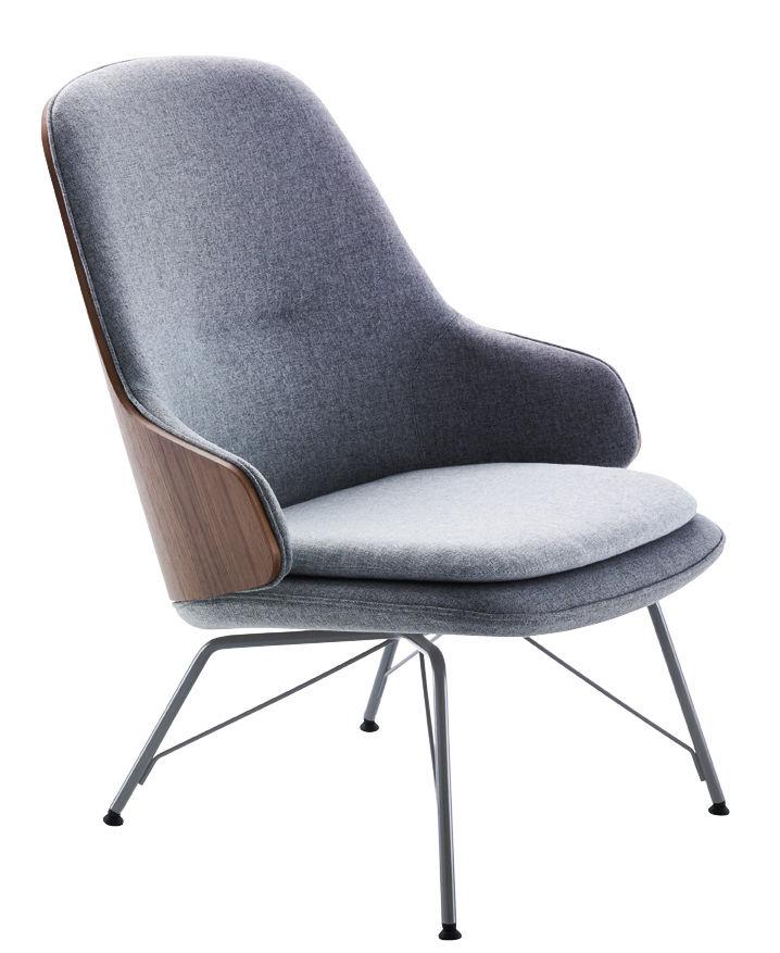 Möbel - Lounge Sessel - Judy Gepolsterter Sessel / Nussbaum & Stoff - Zanotta - Sessel / grau & Nussbaum - gefirnister Stahl, Gewebe, Nußbaumfurnier, Polyurethan-Schaum