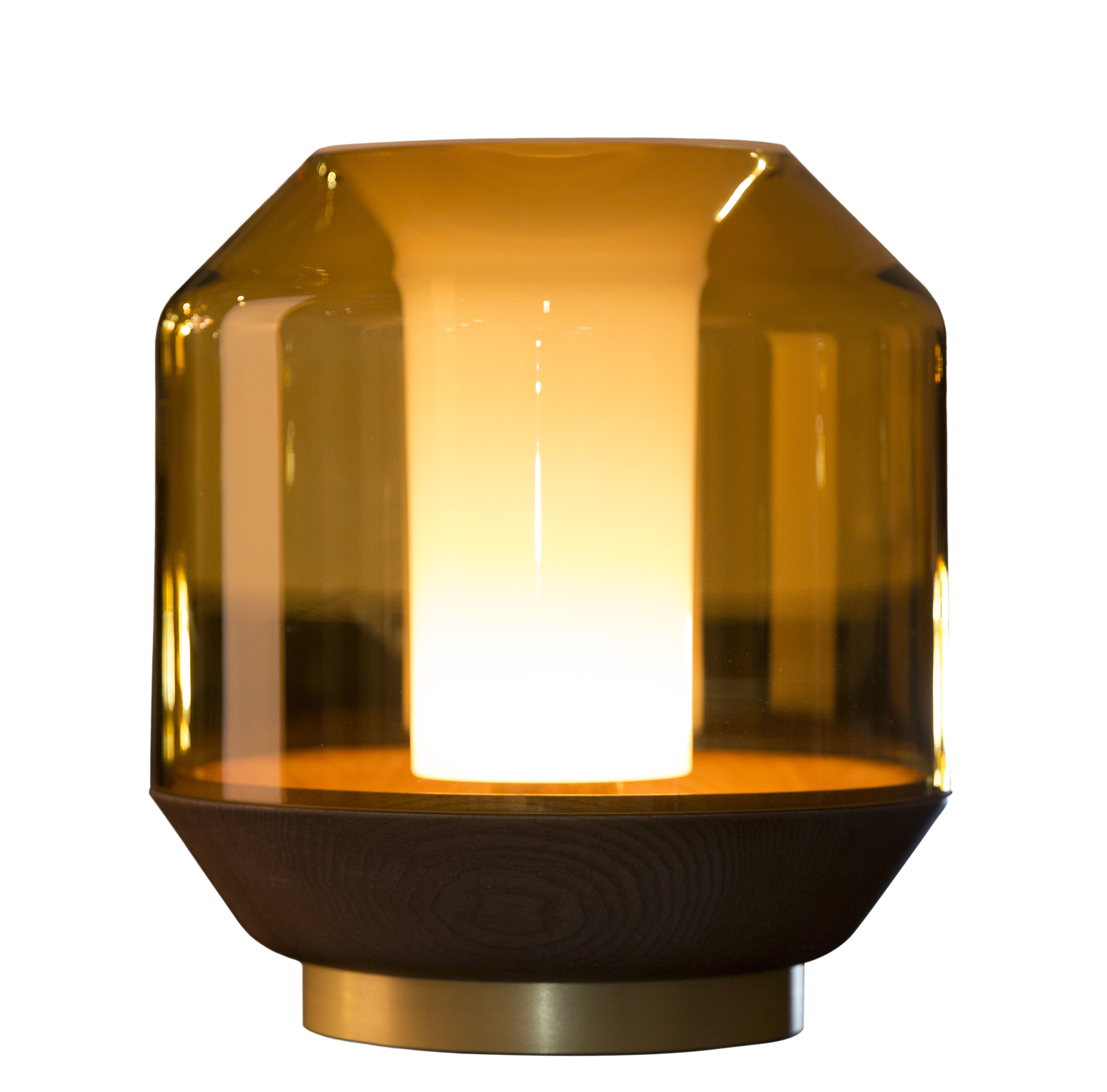 Luminaire - Lampes de table - Lampe de table Lateralis - Innermost - Miel / Bois & laiton - Aluminium finition laiton, Frêne teinté, Verre soufflé
