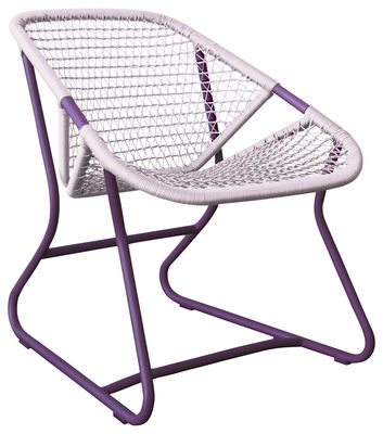 Furniture - Armchairs - Sixties Low armchair by Fermob - Aubergine frame / Gum Pink Seat - Aluminium, Plastic material