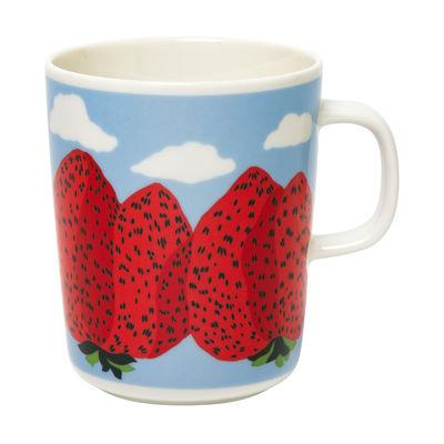 Arts de la table - Tasses et mugs - Mug Mansikkavuoret / 25 cl - Marimekko - Mansikkavuoret / Blanc, rouge, bleu - Grès