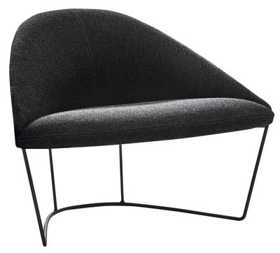 Furniture - Armchairs - Colina Medium Padded armchair by Arper - Anthracite / Black leg - Foam, Kvadrat fabric, Lacquered steel, Plywood