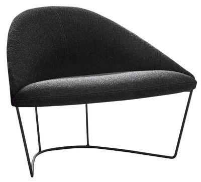 Furniture - Armchairs - Colina Medium Padded armchair by Arper - Anthracite / Black leg - Foam, Kvadrat fabric, Lacquered steel, Multiplis de bois