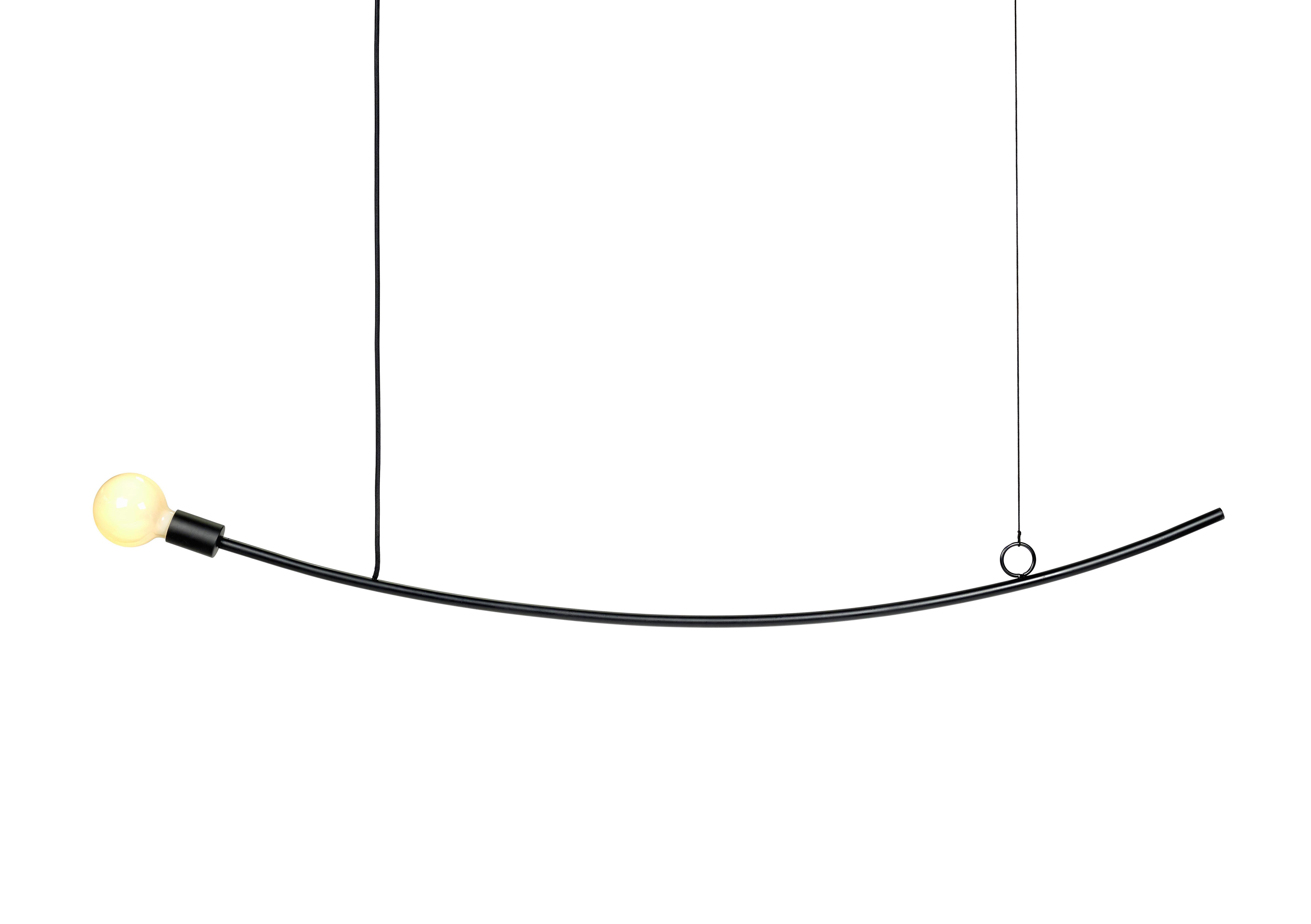 Lighting - Pendant Lighting - Accent Pendant - Curved / 126 cm by Serax - Black - Fibres de verre, Rubber