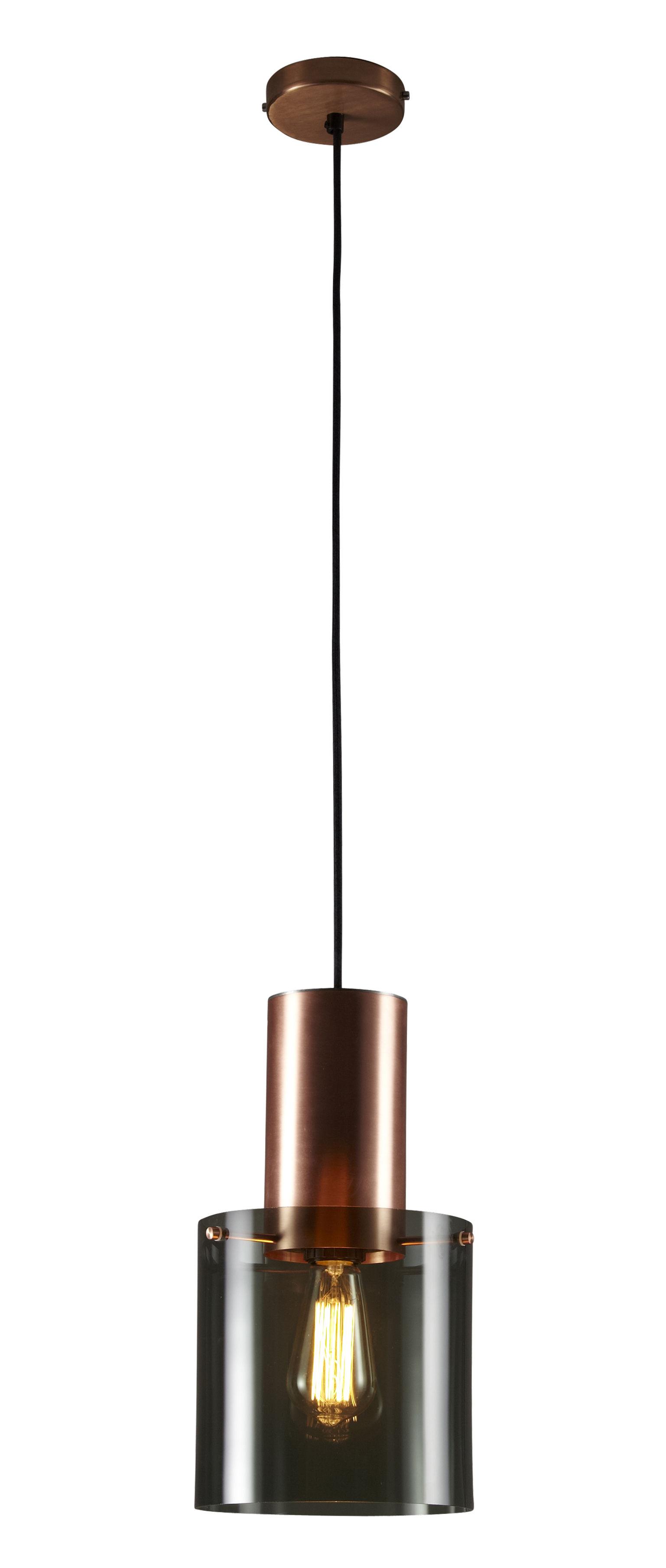 Lighting - Pendant Lighting - Walter 2 Pendant - H 36 cm by Original BTC - Anthracite glass & Copper - Glass, Satined copper