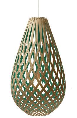 Leuchten - Pendelleuchten - Koura Pendelleuchte Ø 55 cm - zweifarbig - exklusiv - David Trubridge - Wassergrün / Naturholz - Kiefer