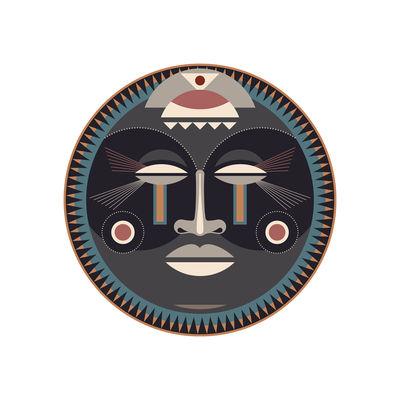 Tableware - Napkins & Tablecloths - Mask Placemat - / Ø 38 cm - Vinyl by PÔDEVACHE - Mask no. 2 / Grey, blue & beige - Vinal