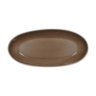 Plat à cake Maguelone / 38 x 18 cm - Grès fait main - Jars Céramistes marron en céramique