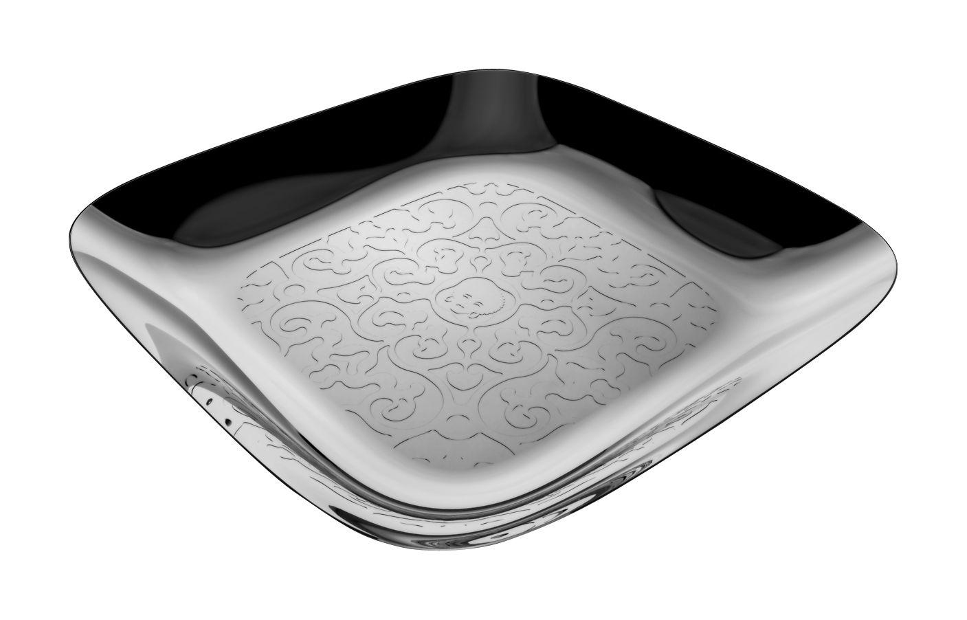 Arts de la table - Plateaux - Plateau Dressed carré / 34 x 34 cm - Alessi - 34 x 34 cm - Acier poli - Acier inoxydable brillant