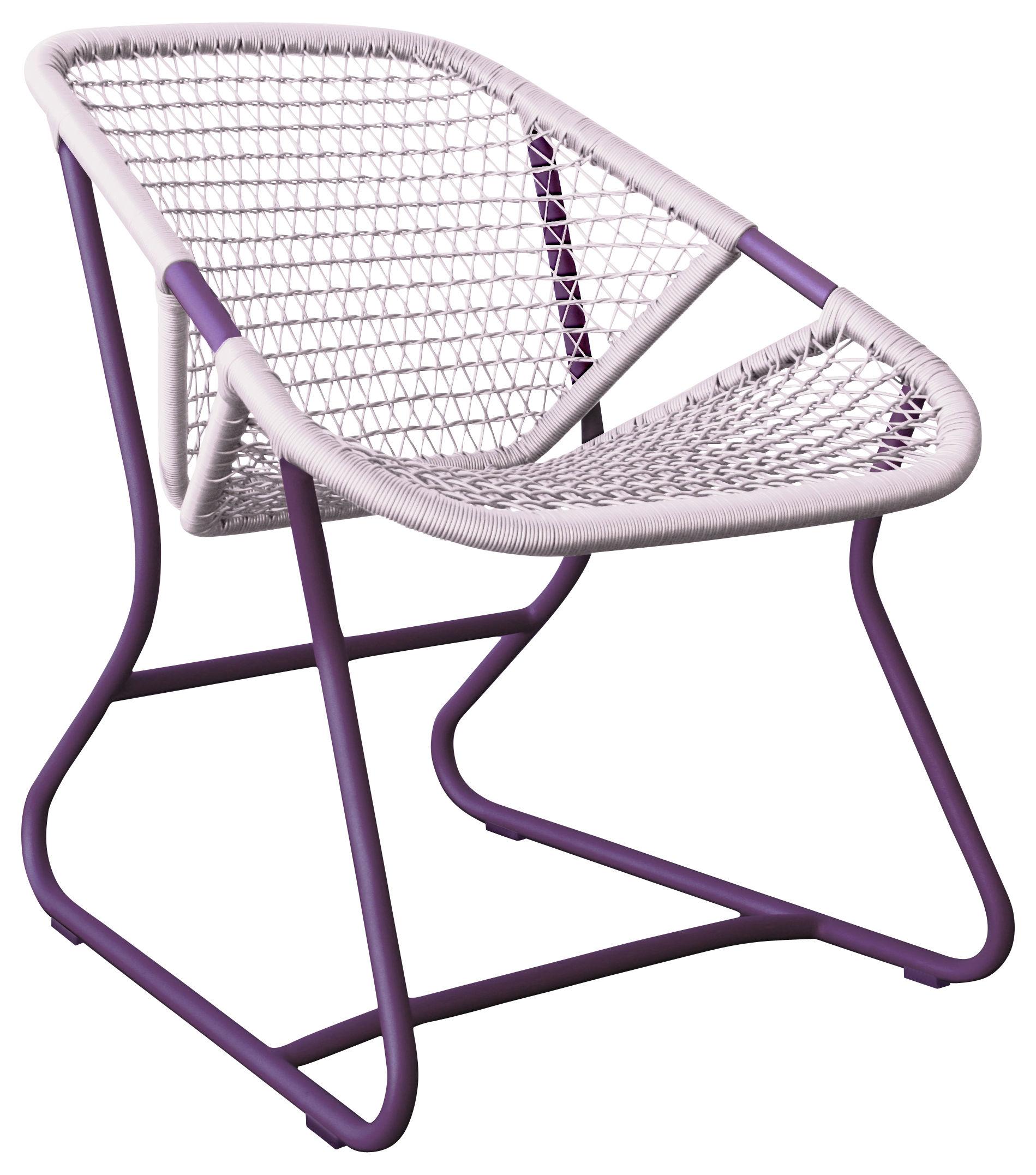 Jardin matières UK - Fabric UK - Poltrona bassa Sixties di Fermob - Piede Melanzana / Sedile Rosa gomma - Alluminio, Materiale plastico