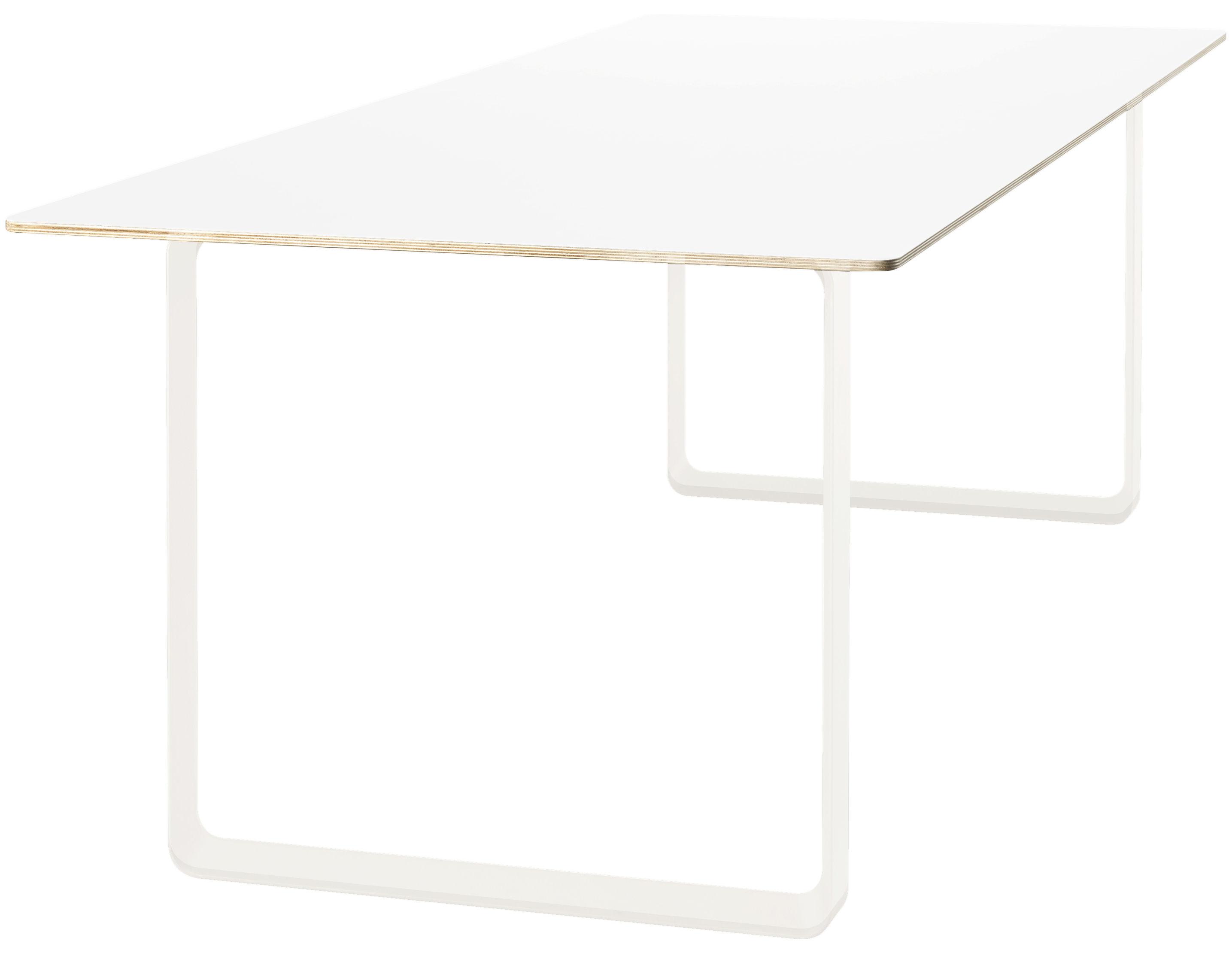 Möbel - Tische - 70-70 rechteckiger Tisch - L 225 cm - Muuto - Weiß - Aluminium, Furnier, Melamin