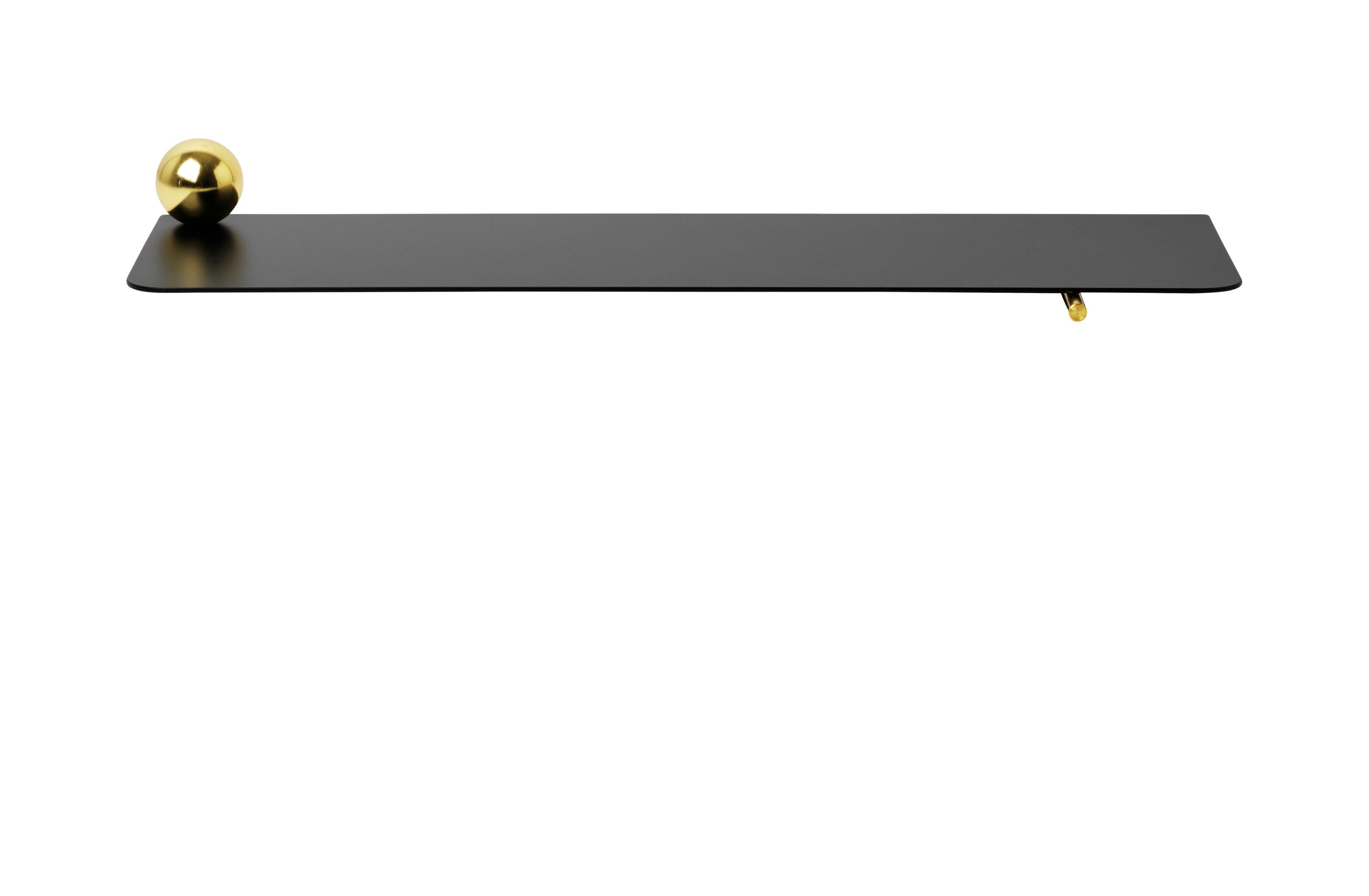Möbel - Regale und Bücherregale - Flying Sphère Regal / L 60 cm x H 6,3 cm - Ferm Living - Schwarz & Messing - epoxy-beschichtetes Metall, Messing