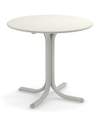 Outdoor - Garden Tables - System Round table - / Ø 80 cm by Emu - White - Galvanised painted steel