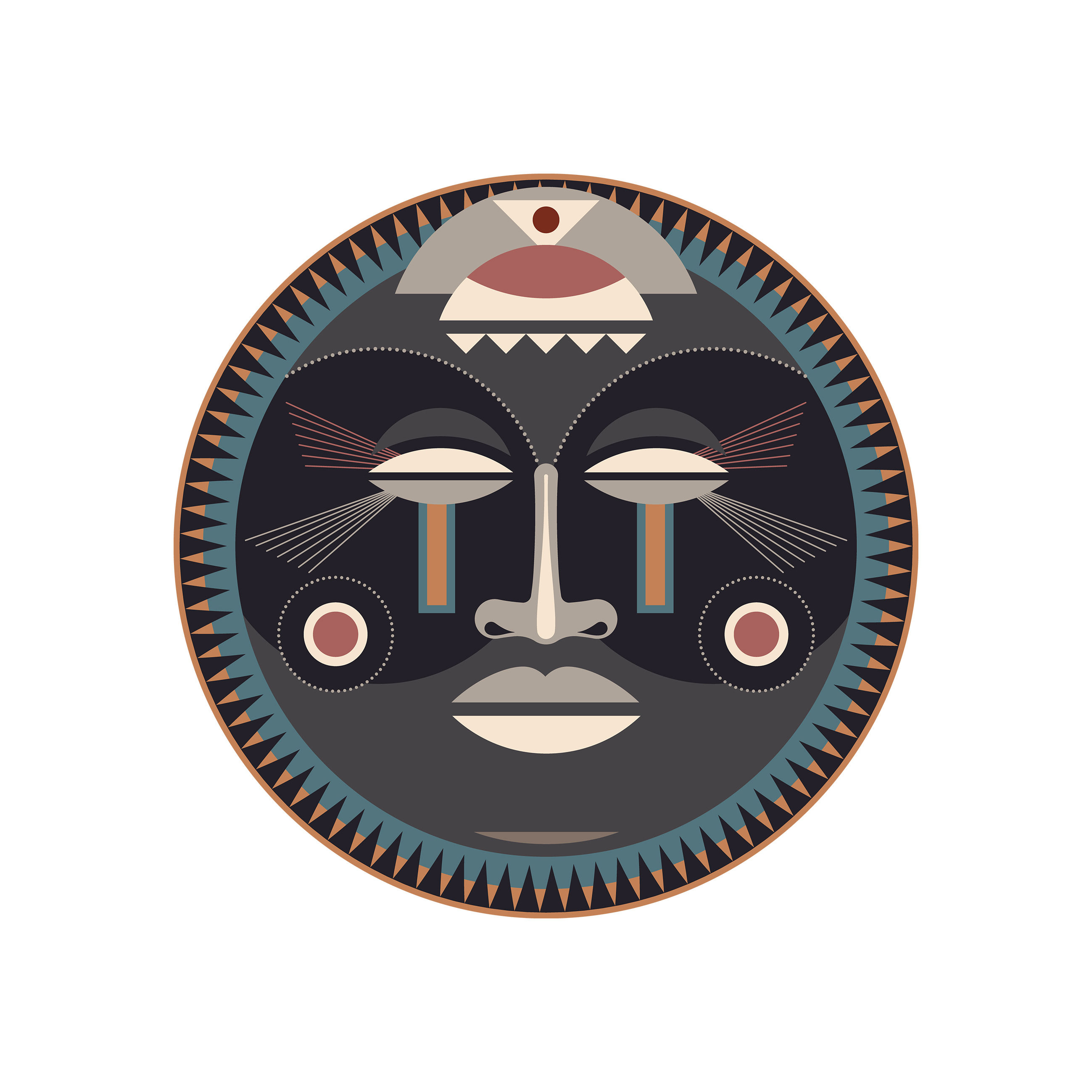 Arts de la table - Nappes, serviettes et sets - Set de table Mask / Ø 38 cm - Vinyle - PÔDEVACHE - Mask n°2 / Gris, bleu & beige - Vinyle