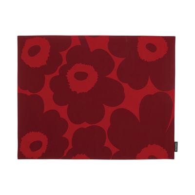 Set de table Pieni Unikko / Coton enduit - 31 x 42 cm - Marimekko rouge,rouge foncé en tissu