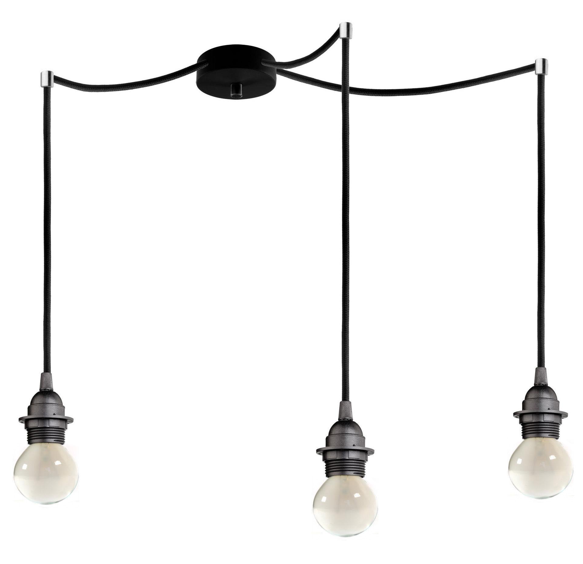 Luminaire - Suspensions - Suspension Bi Kage Triple / 3 câbles, douilles & rosace - Sotto Luce - Douille noire / Câble noir / Rosace noire - Métal, Plastique, Tissu