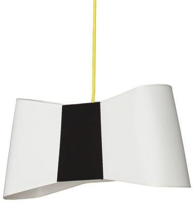Luminaire - Suspensions - Suspension Grand Couture / L 50 cm - Designheure - Blanc & noir / Câble jaune - Tissu