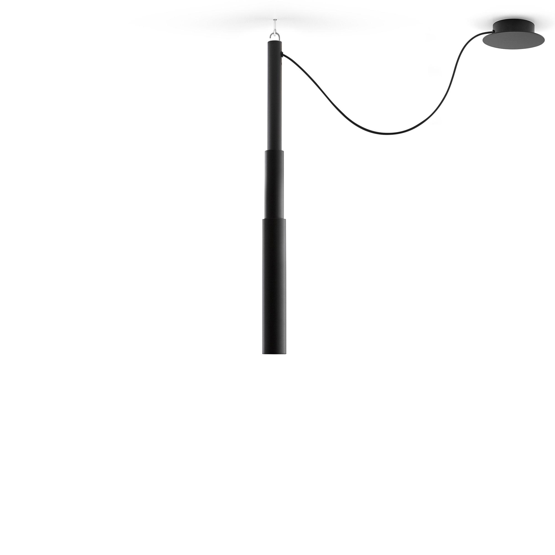 Luminaire - Suspensions - Suspension Micro Telescopic / Tube télescopique - H 94/165 cm - Pallucco - Noir - Aluminium