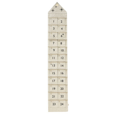 Decoration - Memo Boards & Calendars  - Star Advent calendar - / Fabric - 24 days / L 25 x H 150 cm by Ferm Living - Sand - Cotton