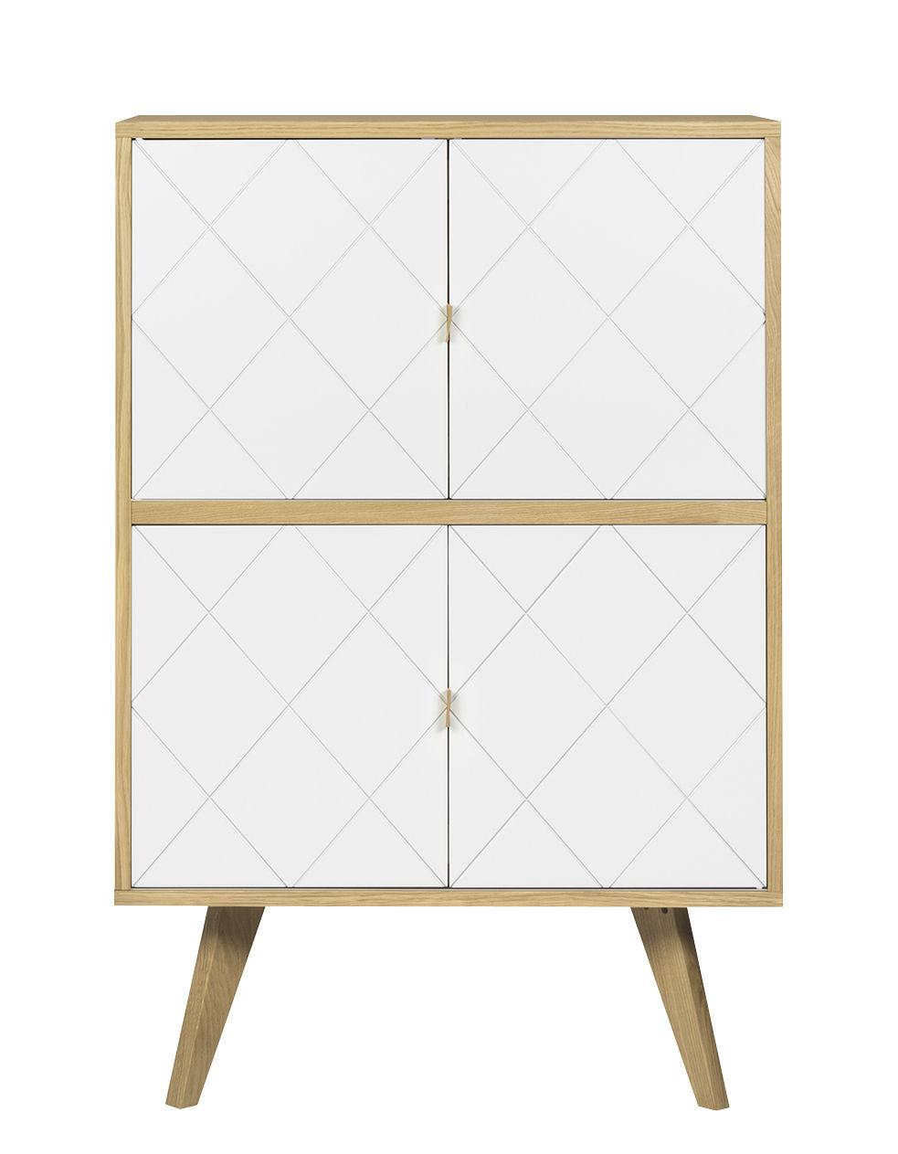 Möbel - Kommode und Anrichte - Butterfly Anrichte / hoch - L 80 cm x H 125 cm - POP UP HOME - Eiche / weiß - Eichensperrholz, massive Eiche, Pressspan, bemalt