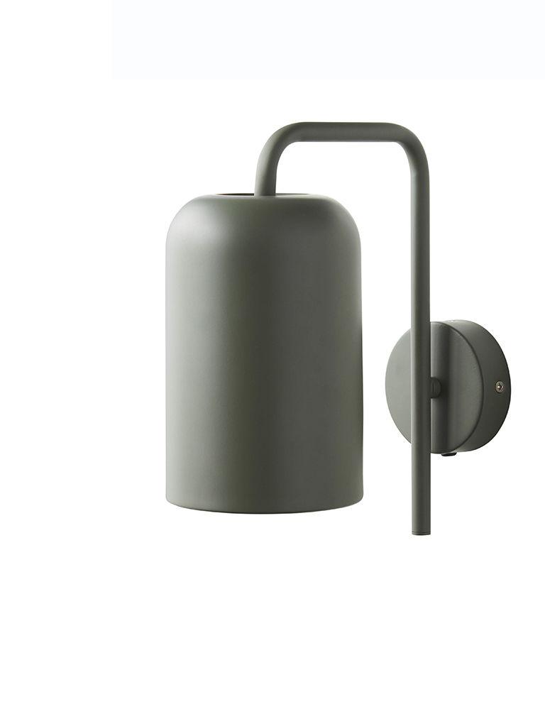 Luminaire - Appliques - Applique avec prise Chill / H 25 cm - Frandsen - Vert - Métal peint