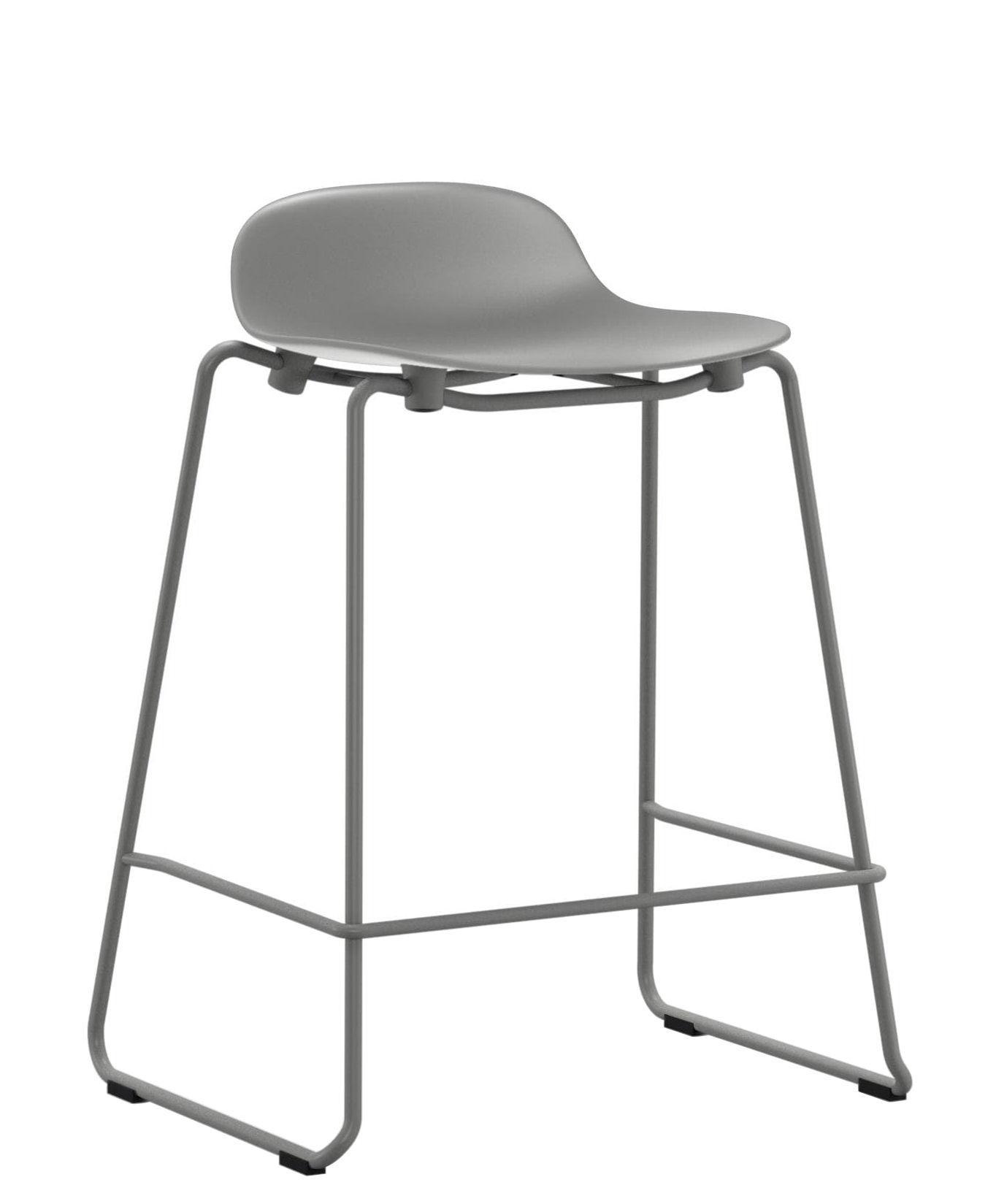 Furniture - Bar Stools - Form Bar stool - stackable / Metal legs - H 65 cm by Normann Copenhagen - Grey - Lacquered steel, Polypropylene
