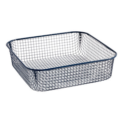 Tableware - Fruit Bowls & Centrepieces - Trinkets Basket - / Square - Wire mesh by Hay - Dark blue - Painted iron