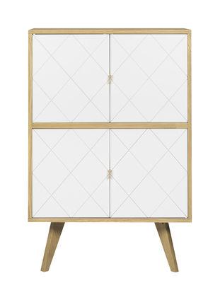 Mobilier - Commodes, buffets & armoires - Buffet Butterfly / Haut - L 80 x H 125 cm - POP UP HOME - Chêne / Blanc - Aggloméré peint, Chêne massif, Contreplaqué chêne