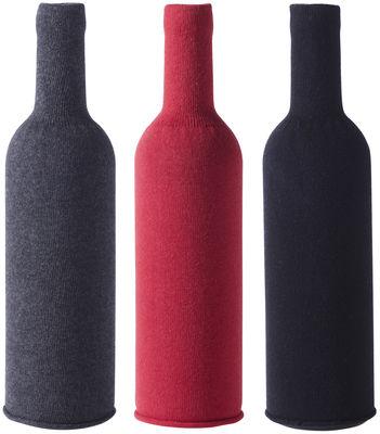 Cache-bouteille / Set de 3 - Pour dégustation à l´aveugle - L´Atelier du Vin rouge,noir,gris anthracite en tissu