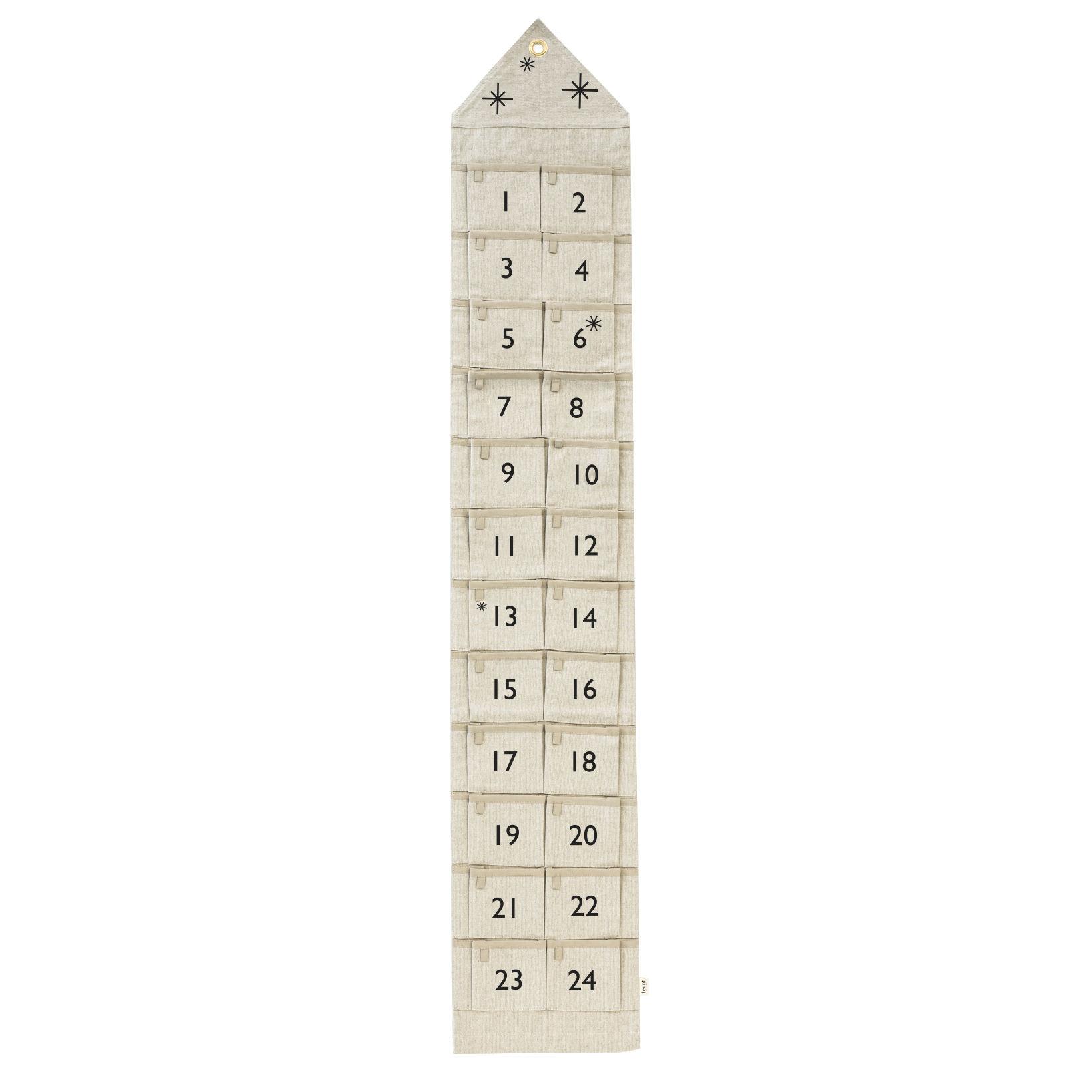 Déco - Mémos, ardoises & calendriers - Calendrier de l'avent Star / Tissu - 24 jours / L 25 x H 150 cm - Ferm Living - Sable - Coton