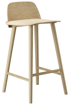 Chaise de bar Nerd / H 65 cm - Bois - Muuto chêne en bois