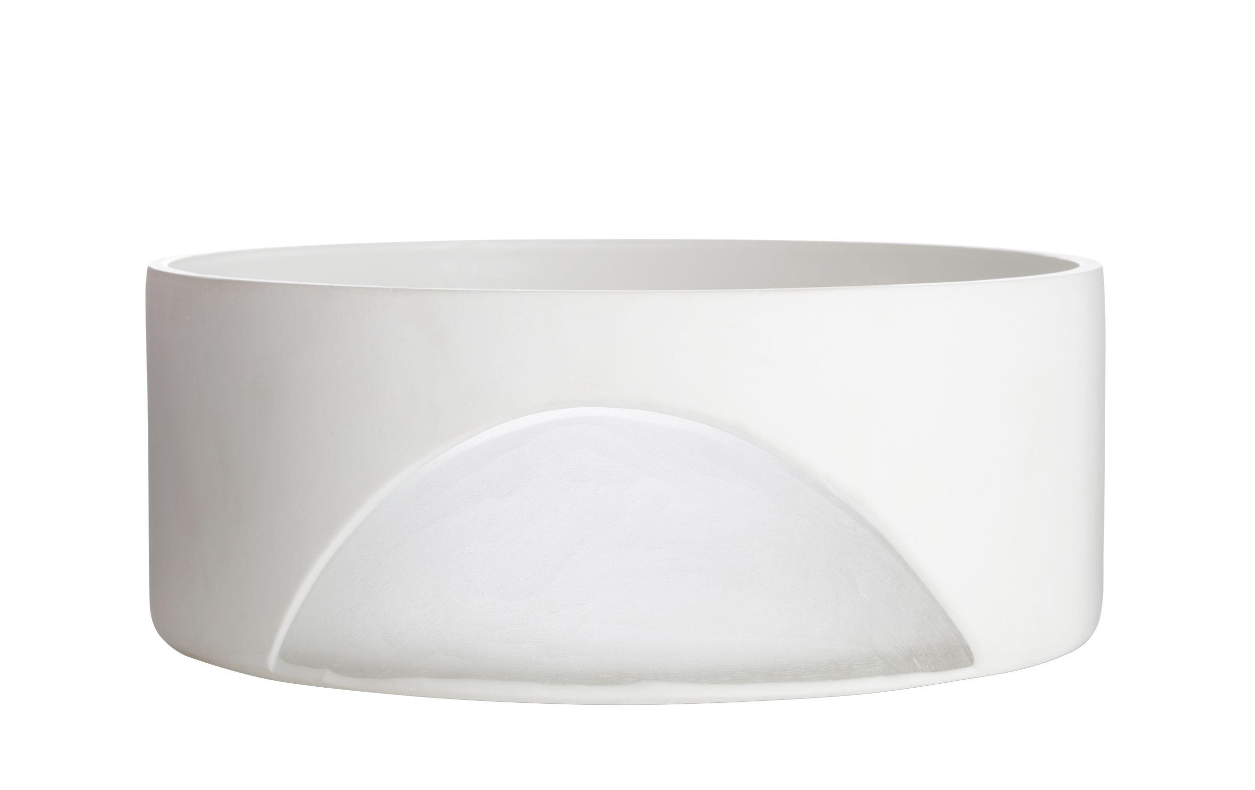 Tavola - Ciotole - Coppa Carved - / Ø 28 cm - Vetro soffiato di Tom Dixon - Bianco - Vetro soffiato a bocca
