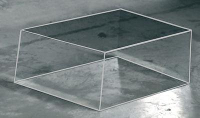 Möbel - Couchtische - Wireframe Couchtisch 60 x 57 cm - Glas Italia - Transparent - weiße Kanten - Cristal trempé