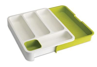 Kitchenware - Cool Kitchen Gadgets - DrawerStore Cutlery holder - Expandable by Joseph Joseph - White/green - Polypropylene