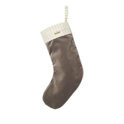 Décoration de Noël Stocking / Chaussette velours à suspendre - Ferm Living marron en tissu