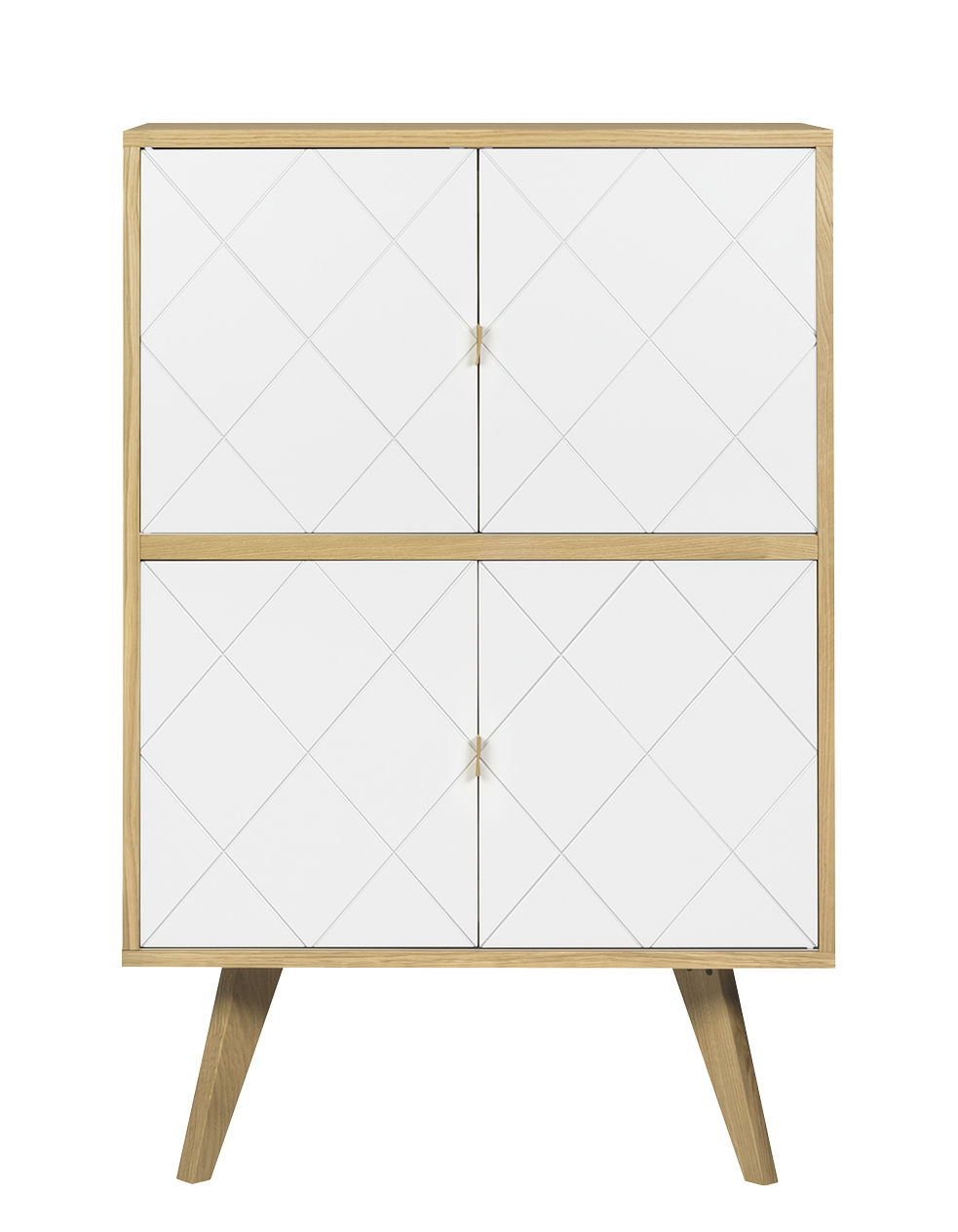 Furniture - Dressers & Storage Units - Butterfly Dresser - / Height - L 80 x H 125 cm by POP UP HOME - Oak / White - Oak plywood, Painted chipboard, Solid oak