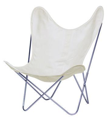 Chaise AA Butterfly INDOOR / Coton - Structure chromée - AA-New Design blanc/beige en tissu