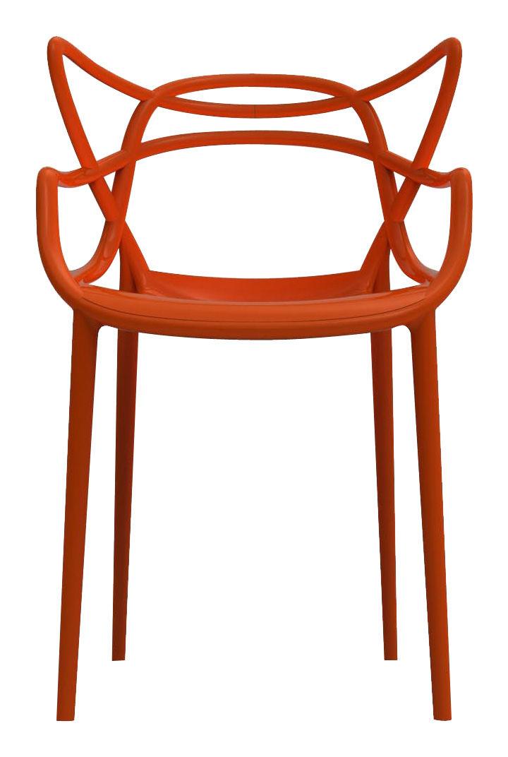 Mobilier - Chaises, fauteuils de salle à manger - Fauteuil empilable Masters / Plastique - Kartell - Orange rouille - Polypropylène