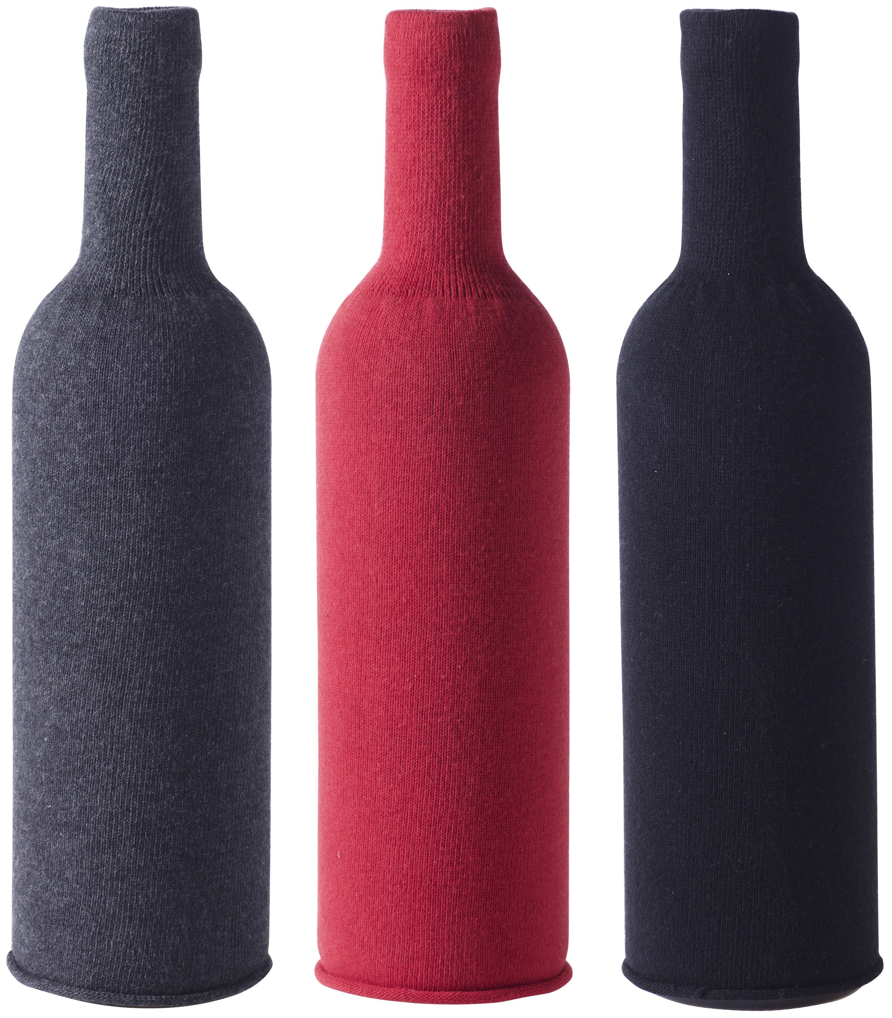 Tischkultur - Praktische Accessoires - Flaschenüberzug / 3er-Set - für Blindverkostungen - L'Atelier du Vin - Schwarz / anthrazit-grau / rot - Baumwolle, Elasthanne, Polyamid