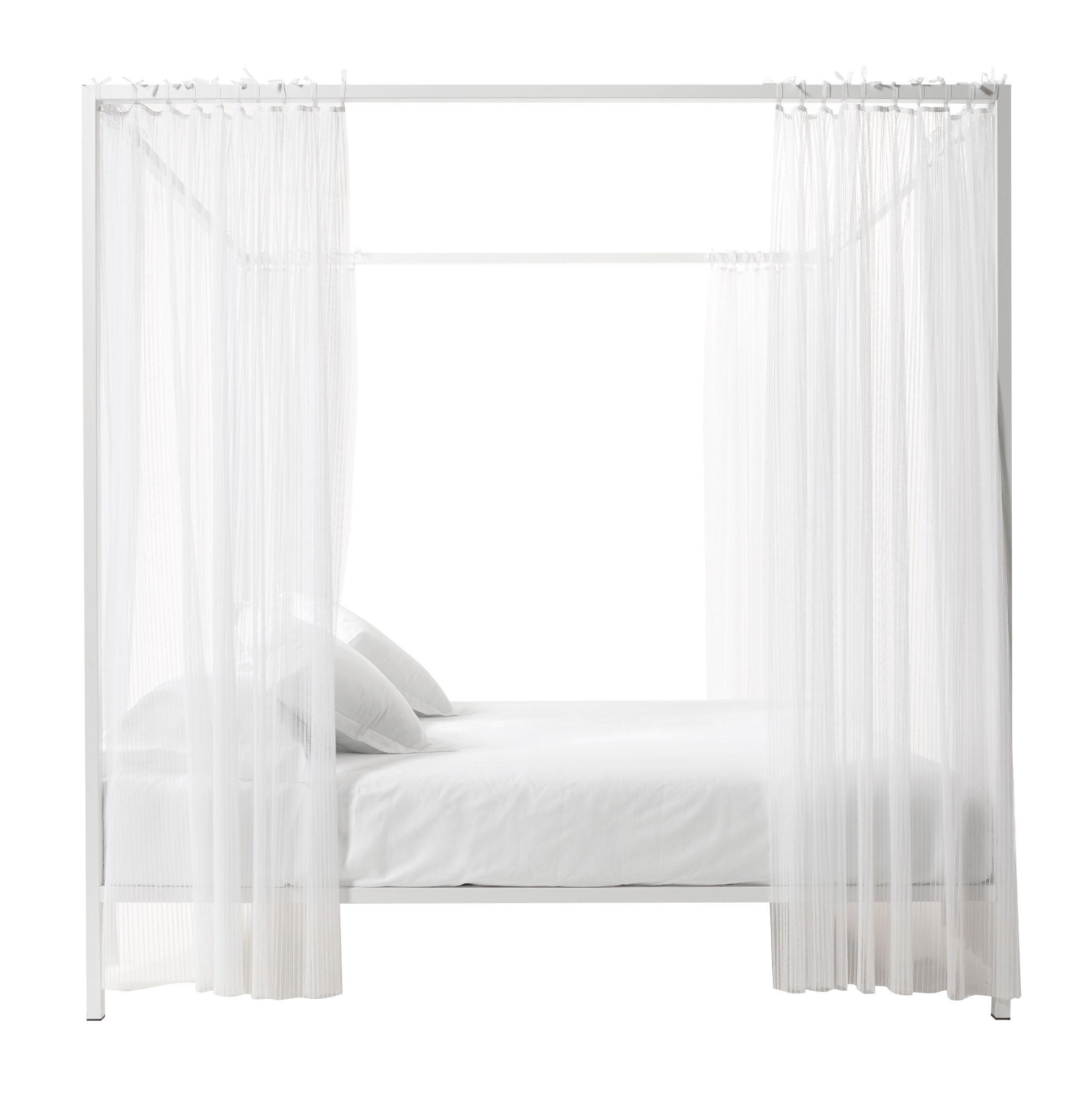 Möbel - Betten - Illetto Himmelbett / 180 x 210 x H 210 cm - Stahl - Opinion Ciatti - Weiß - Birkenfurnier, lackierter Stahl