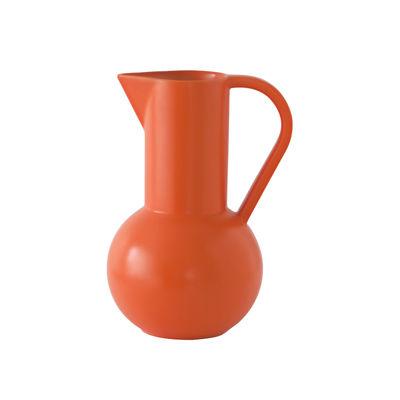 Tischkultur - Karaffen - Strøm Medium Karaffe / H 24 cm - Céramique / Fait main - raawii - Orange Vibrant - Keramik