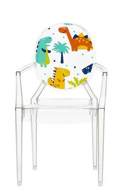 Möbel - Möbel für Kinder - Lou Lou Ghost Kindersessel / mit Motiv auf der Rückenlehne - Kartell - Transparent / Dinosaurier - Polykarbonat