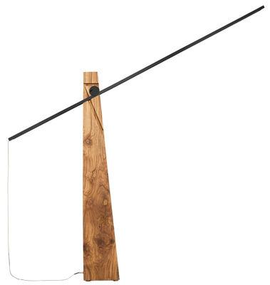 Luminaire - Lampadaires - Lampadaire Astolfo LED / H 143 cm - Lumen Center Italia - Noyer / Noir - Aluminium anodisé, Noyer massif